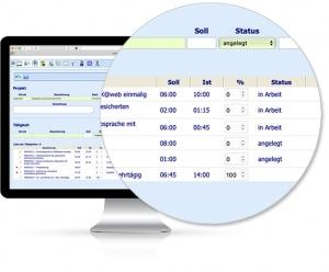 Bildschirmansicht / Monitor Projektzeiterfassung - Software von IBIX
